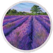 Lavender Field Round Beach Towel