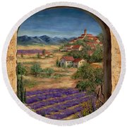 Lavender Fields And Village Of Provence Round Beach Towel