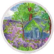 Round Beach Towel featuring the painting Lavender Fields by Cathie Richardson