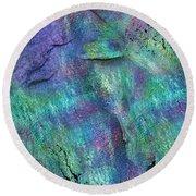 Lavender Fields Round Beach Towel by Marina Shkolnik