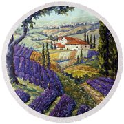 Lavender Fields Tuscan By Prankearts Fine Arts Round Beach Towel