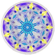 Round Beach Towel featuring the digital art Lavender Floral by Shawna Rowe
