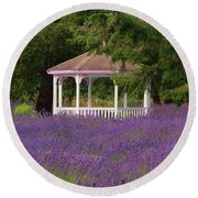 Lavender Gazebo Round Beach Towel