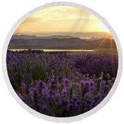 Lavender Glow Round Beach Towel by Chad Dutson
