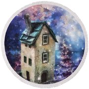 Round Beach Towel featuring the painting Lavender Hill by Mo T