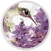 Round Beach Towel featuring the painting Lavender Hummer by Dawn Derman