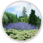Lavender In The Middle Round Beach Towel