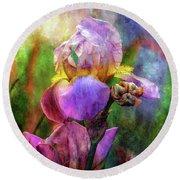 Lavender Iris Impression 0056 Idp_2 Round Beach Towel