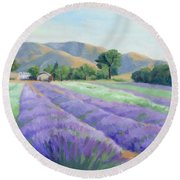 Lavender Lines Round Beach Towel by Sandy Fisher