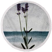 Lavender Ocean Breath Round Beach Towel