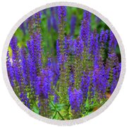 Round Beach Towel featuring the digital art Lavender Patch by Chris Flees