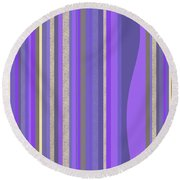 Round Beach Towel featuring the digital art Lavender Random Stripe Abstract by Val Arie