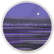 Lavender Reflections Round Beach Towel by Val Arie