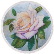 Lavender Rose Round Beach Towel by Marna Edwards Flavell