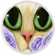 Lavender Roses Cat - Green Eyes Round Beach Towel