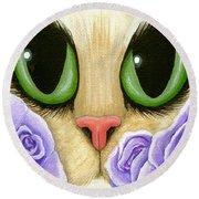 Lavender Roses Cat - Green Eyes Round Beach Towel