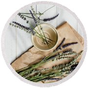 Round Beach Towel featuring the photograph Lavender Still Life 1 by Rebecca Cozart