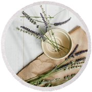 Round Beach Towel featuring the photograph Lavender Still Life 2 by Rebecca Cozart