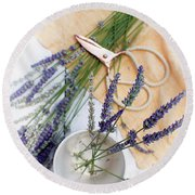 Round Beach Towel featuring the photograph Lavender Still Life 3 by Rebecca Cozart
