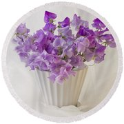 Lavender Sweet Peas And Chiffon Round Beach Towel by Sandra Foster
