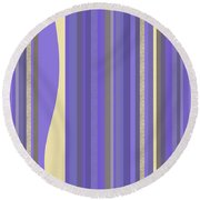 Round Beach Towel featuring the digital art Lavender Twilight - Stripes by Val Arie