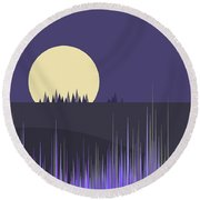 Round Beach Towel featuring the digital art Lavender Twilight by Val Arie