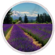 Lavender Valley Farm Round Beach Towel