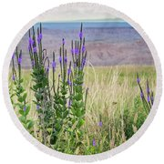 Lavender Verbena And Hills Round Beach Towel