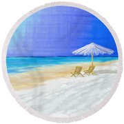 Lawn Chairs In Paradise Round Beach Towel by Jeremy Aiyadurai