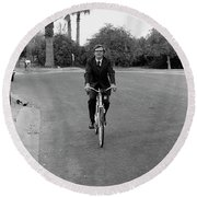 Lawyer On A Bicycle, 1971 Round Beach Towel