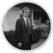 Lawyer With Can Of Tab, 1971 Round Beach Towel