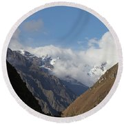 Layers Of Mountains Round Beach Towel