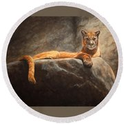 Laying Cougar Round Beach Towel