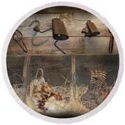 Laying Hens Round Beach Towel by Kim Henderson