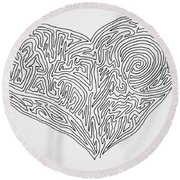 Laying Your Heart On A Line  Round Beach Towel