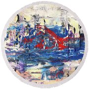 Laziness - Large Bright Pastel Abstract Art Round Beach Towel