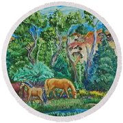 Lazy Wyoming Afternoon Round Beach Towel