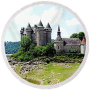 Le Chateau De Val - France Round Beach Towel