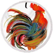 Le Coq Art Nouveau Rooster Round Beach Towel by Mindy Sommers