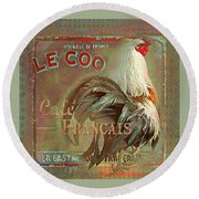 Round Beach Towel featuring the digital art Le Coq - Cafe Francais by Jeff Burgess