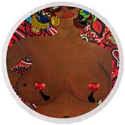 Round Beach Towel featuring the tapestry - textile Le Grande Madame by Apanaki Temitayo M