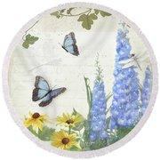 Le Petit Jardin 1 - Garden Floral W Butterflies, Dragonflies, Daisies And Delphinium Round Beach Towel