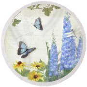Round Beach Towel featuring the painting Le Petit Jardin 1 - Garden Floral W Butterflies, Dragonflies, Daisies And Delphinium by Audrey Jeanne Roberts