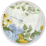 Le Petit Jardin 2 - Garden Floral W Dragonfly, Butterfly, Daisies And Blue Hydrangeas Round Beach Towel by Audrey Jeanne Roberts