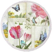 Le Petit Jardin - Collage Garden Floral W Butterflies, Dragonflies And Birds Round Beach Towel by Audrey Jeanne Roberts