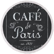 Round Beach Towel featuring the painting Le Petite Bistro 3 by Debbie DeWitt