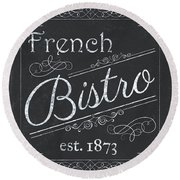 Round Beach Towel featuring the painting Le Petite Bistro 4 by Debbie DeWitt