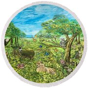 Le Royaume Animal De Yang Round Beach Towel
