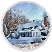 Leacock Museum In Winter Round Beach Towel