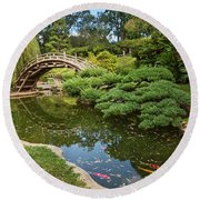 Lead The Way - The Beautiful Japanese Gardens At The Huntington Library With Koi Swimming. Round Beach Towel